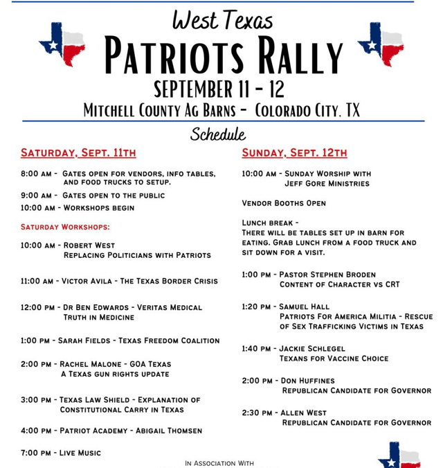 West Texas Patriots Rally: Featuring Republican Candidates for Governor Allen West & Don Huffines